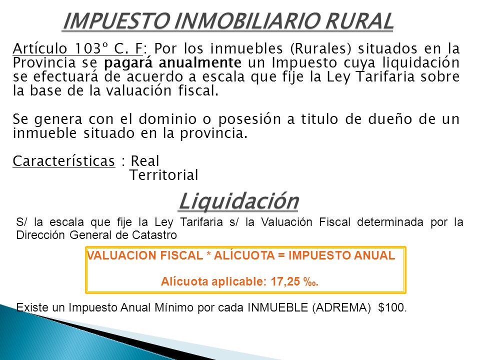 IMPUESTO INMOBILIARIO RURAL Liquidación