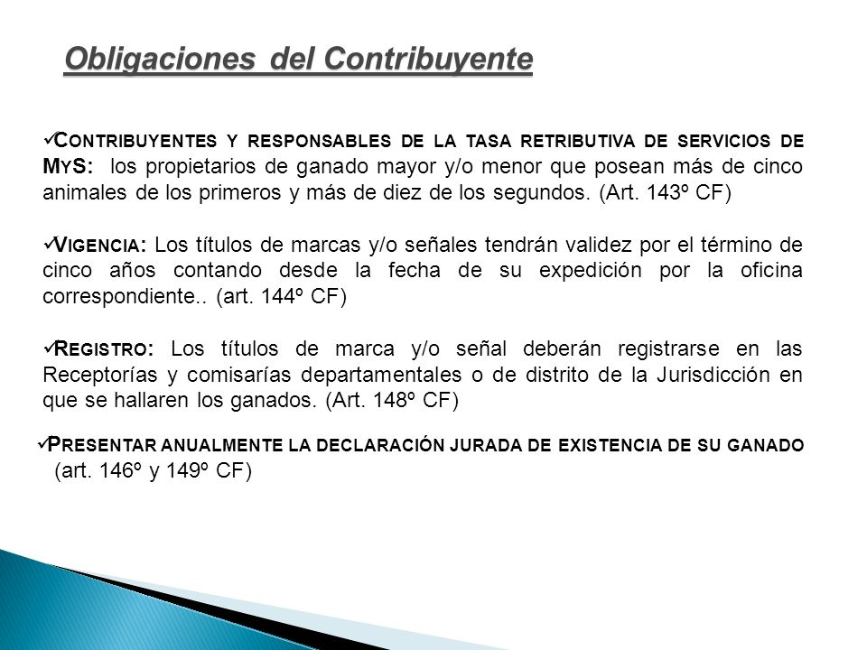 Obligaciones del Contribuyente