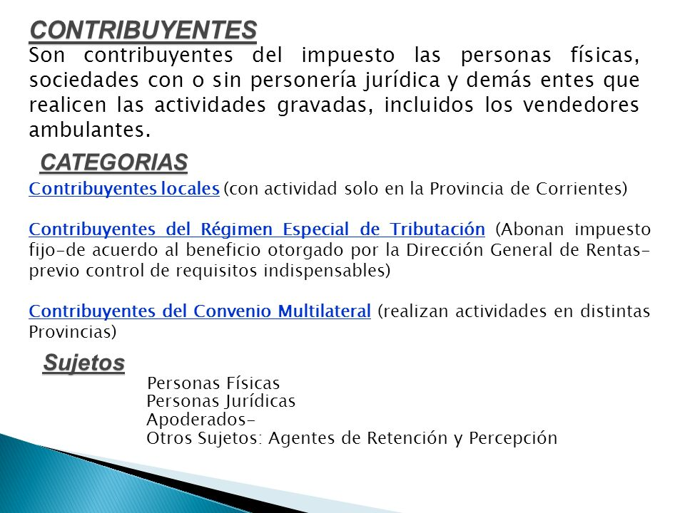 CONTRIBUYENTES CATEGORIAS Sujetos