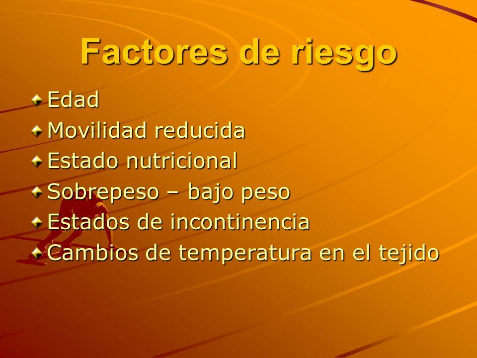 Factores de riesgo Edad Movilidad reducida Estado nutricional
