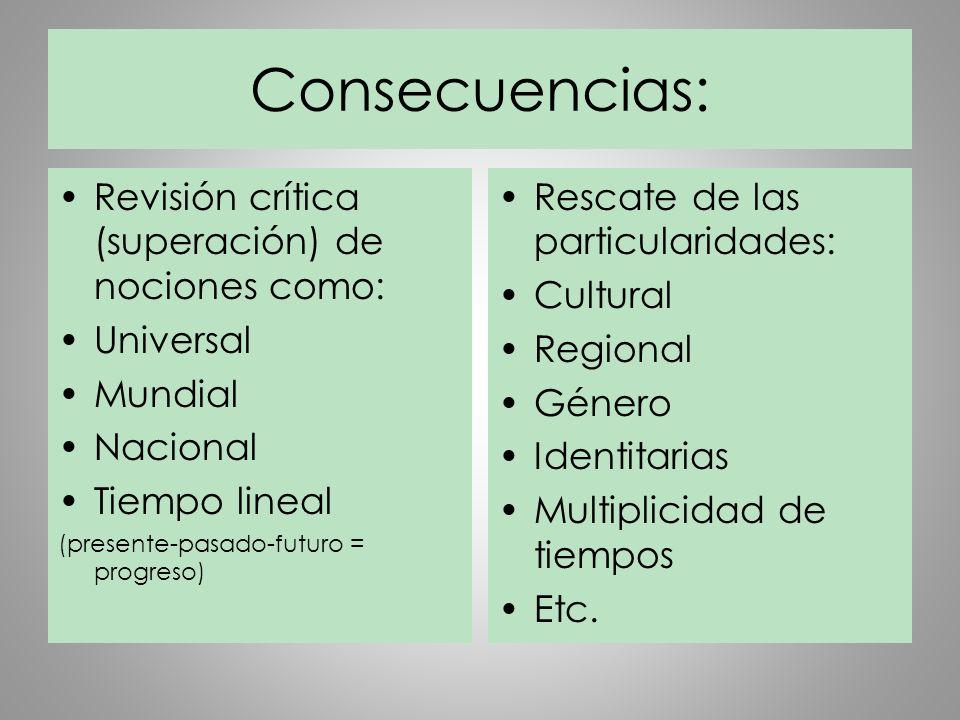Consecuencias: Revisión crítica (superación) de nociones como: