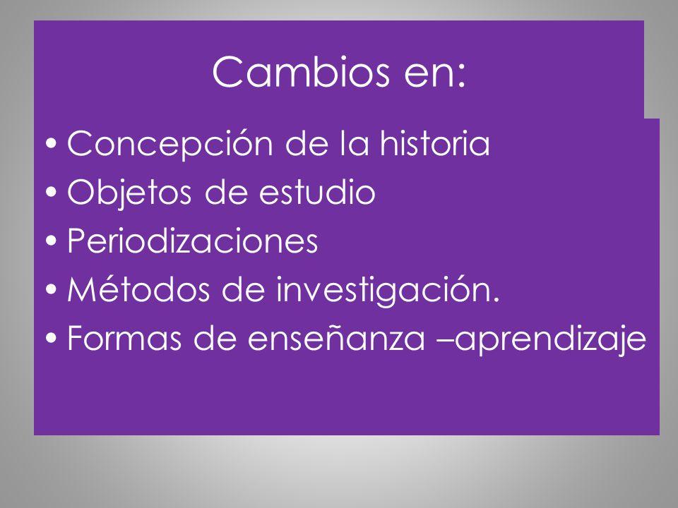 Cambios en: Concepción de la historia Objetos de estudio