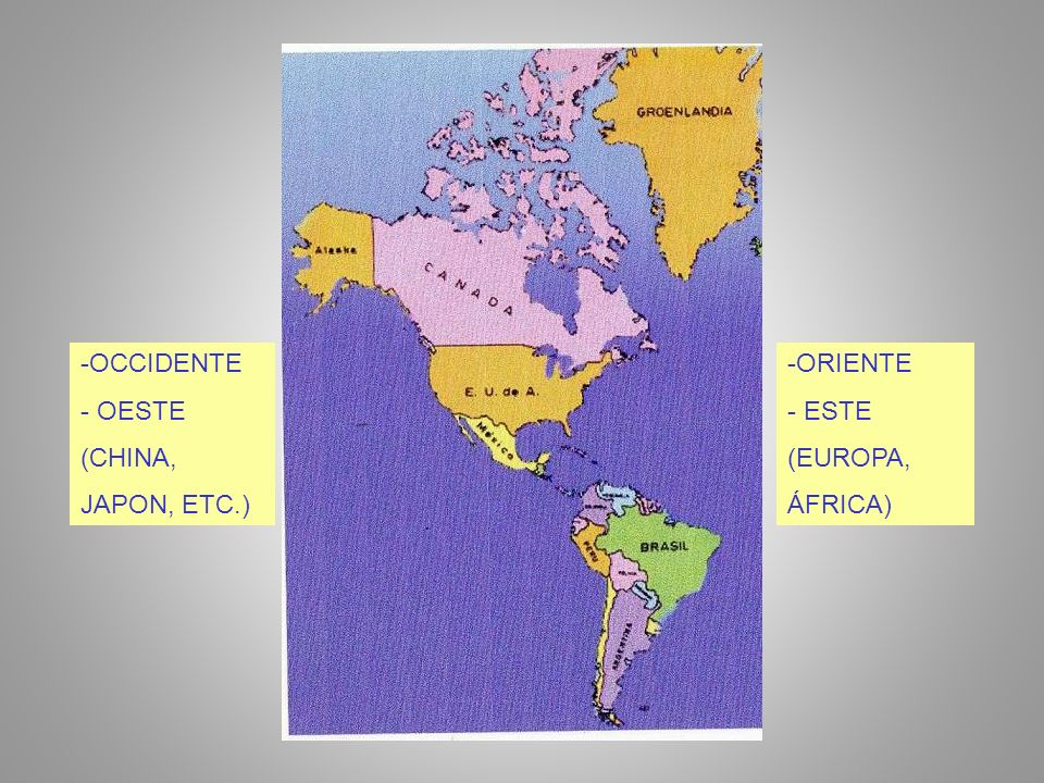 OCCIDENTE - OESTE (CHINA, JAPON, ETC.) ORIENTE - ESTE (EUROPA, ÁFRICA)