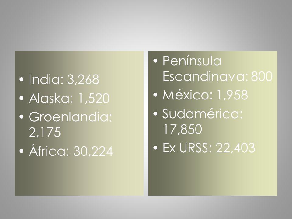 India: 3,268 Alaska: 1,520. Groenlandia: 2,175. África: 30,224. Península Escandinava: 800. México: 1,958.