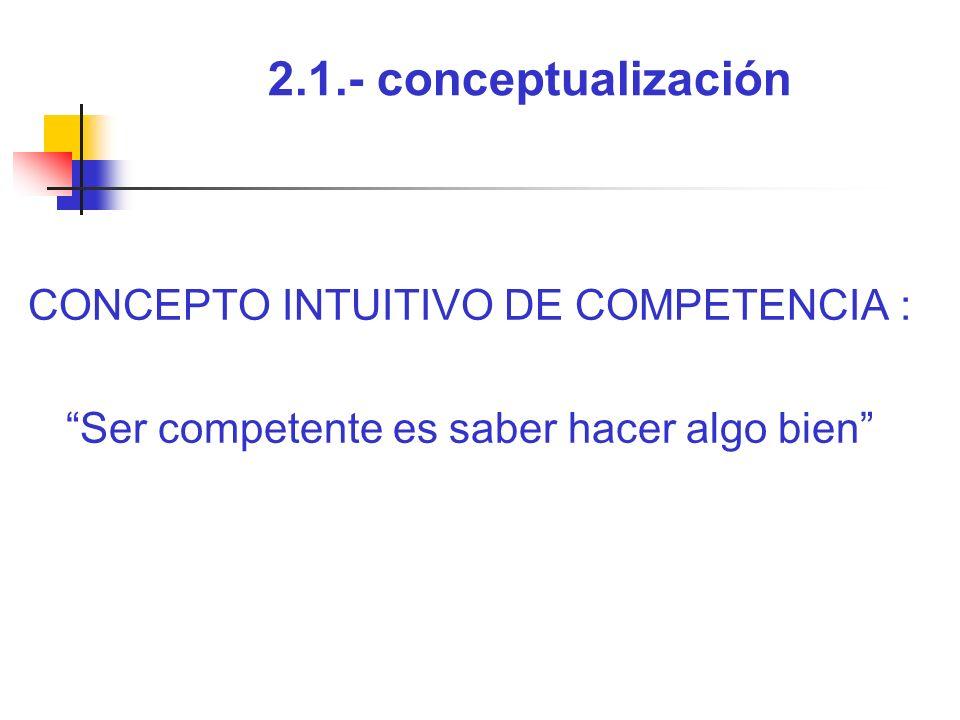2.1.- conceptualización CONCEPTO INTUITIVO DE COMPETENCIA :