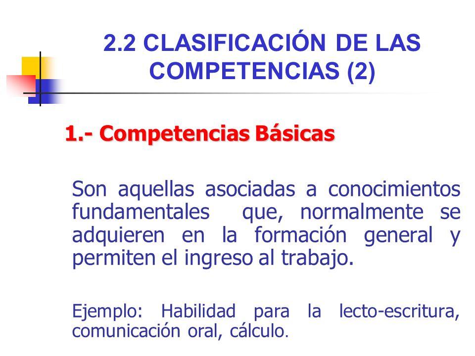 2.2 CLASIFICACIÓN DE LAS COMPETENCIAS (2)