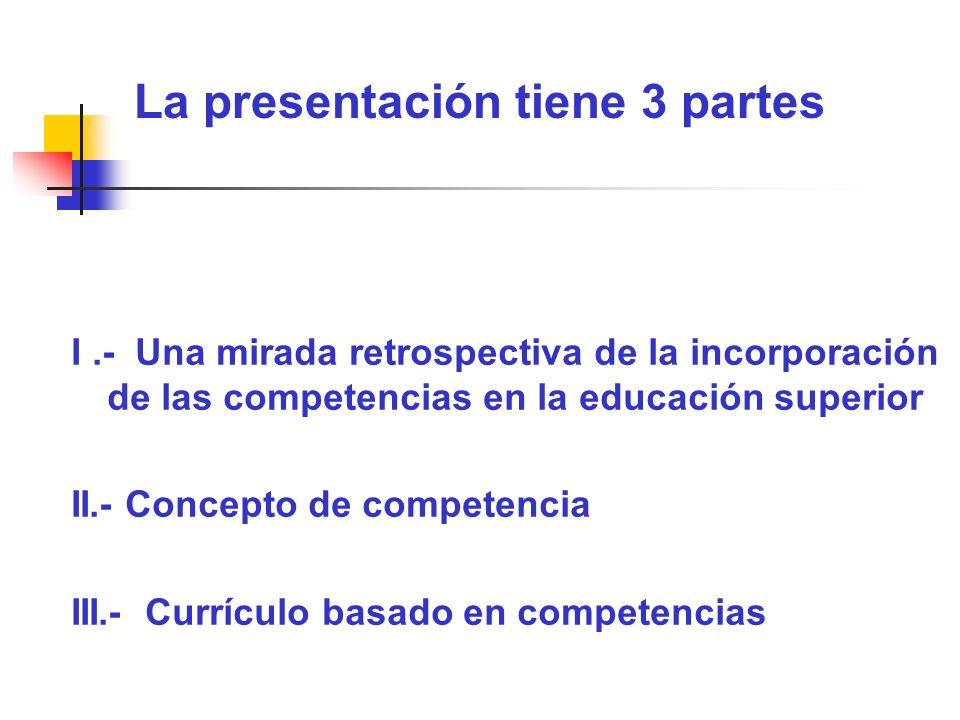 La presentación tiene 3 partes