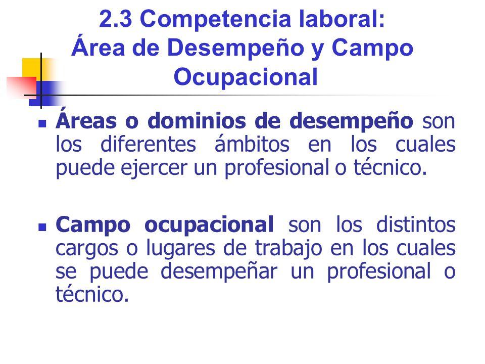 2.3 Competencia laboral: Área de Desempeño y Campo Ocupacional