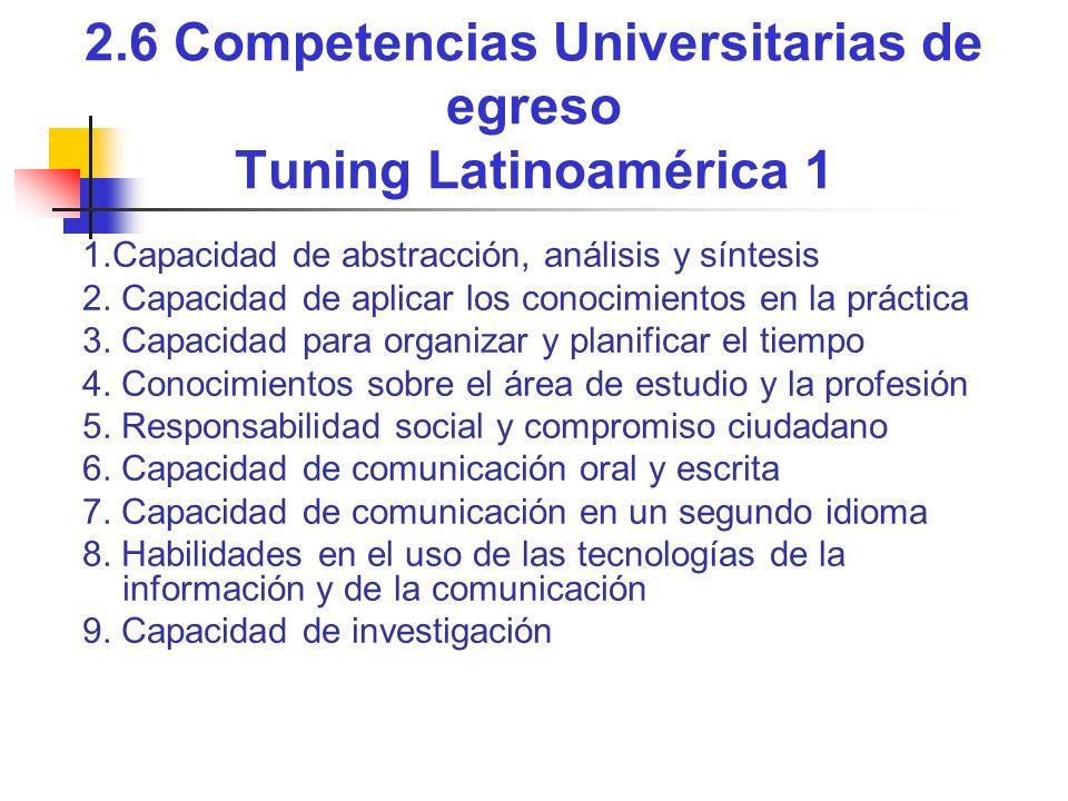 2.6 Competencias Universitarias de egreso Tuning Latinoamérica 1
