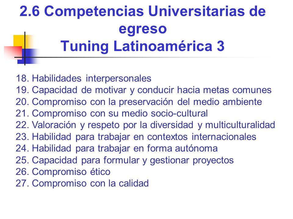 2.6 Competencias Universitarias de egreso Tuning Latinoamérica 3