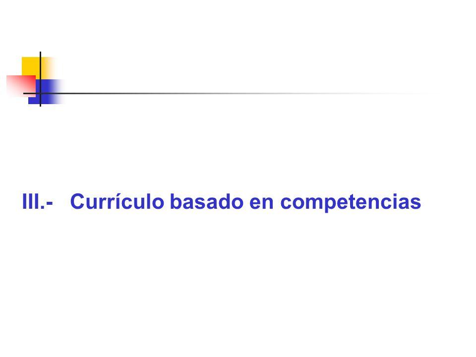III.- Currículo basado en competencias