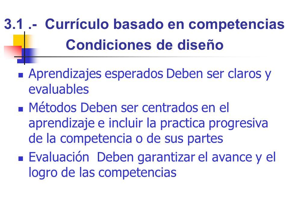 3.1 .- Currículo basado en competencias Condiciones de diseño