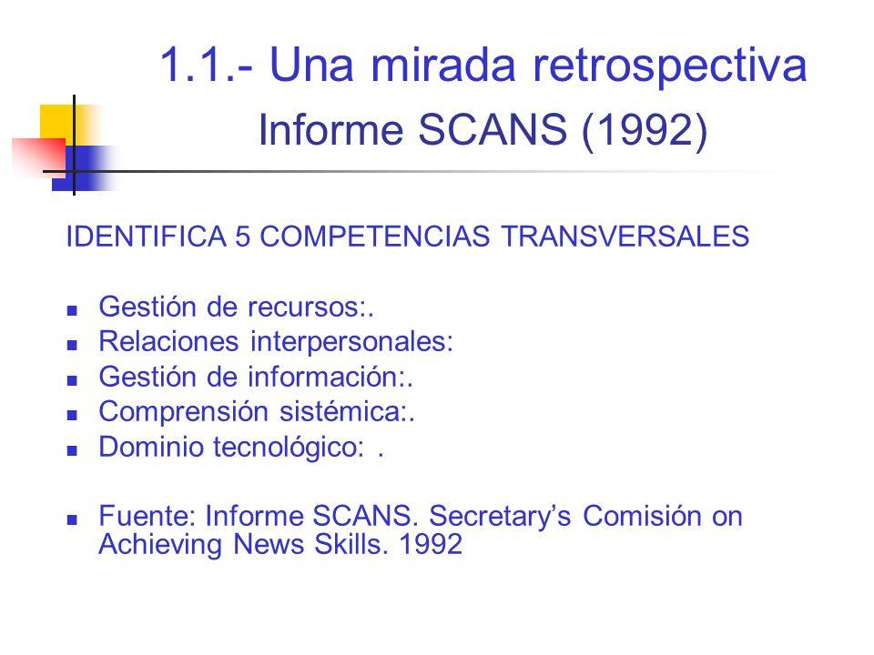 1.1.- Una mirada retrospectiva Informe SCANS (1992)
