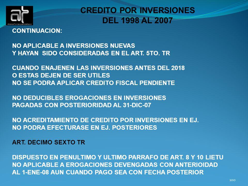CREDITO POR INVERSIONES