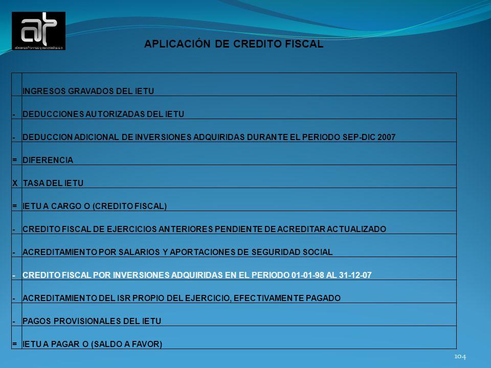APLICACIÓN DE CREDITO FISCAL