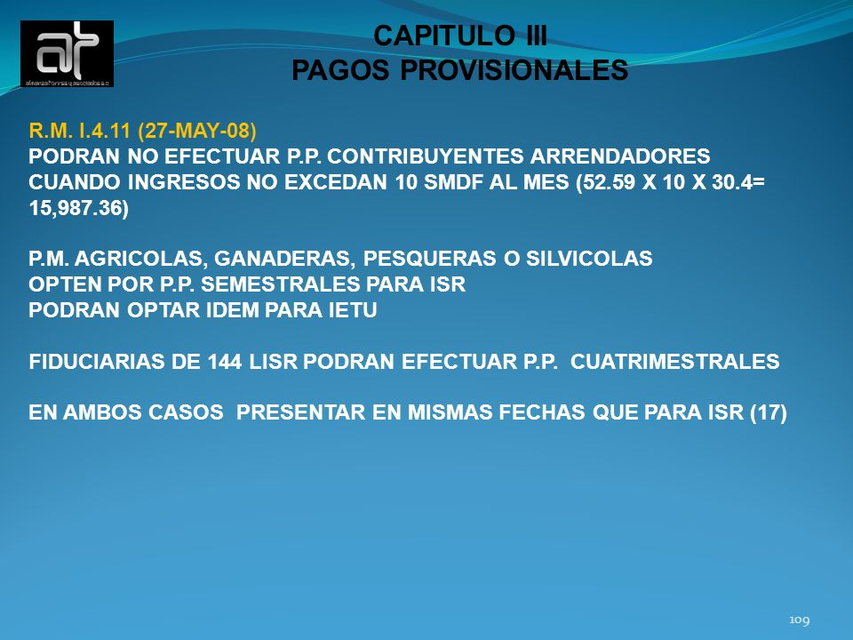 CAPITULO III PAGOS PROVISIONALES