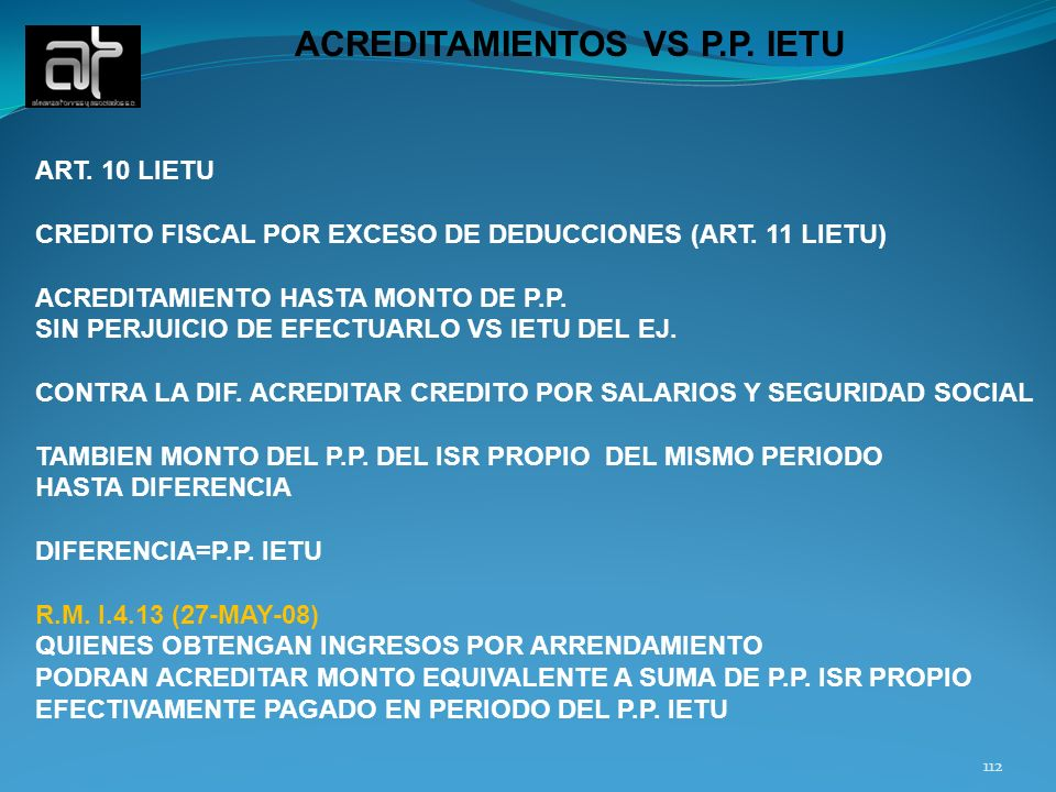 ACREDITAMIENTOS VS P.P. IETU