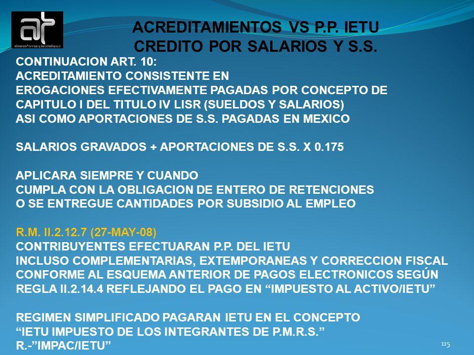 ACREDITAMIENTOS VS P.P. IETU CREDITO POR SALARIOS Y S.S.