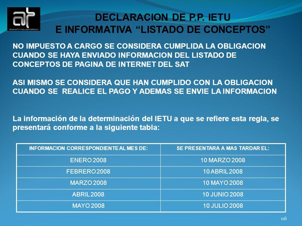 DECLARACION DE P.P. IETU E INFORMATIVA LISTADO DE CONCEPTOS