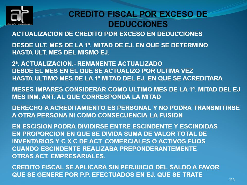 CREDITO FISCAL POR EXCESO DE DEDUCCIONES