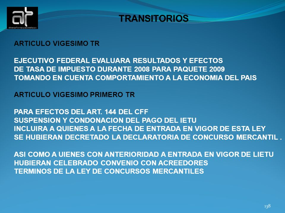 TRANSITORIOS ARTICULO VIGESIMO TR