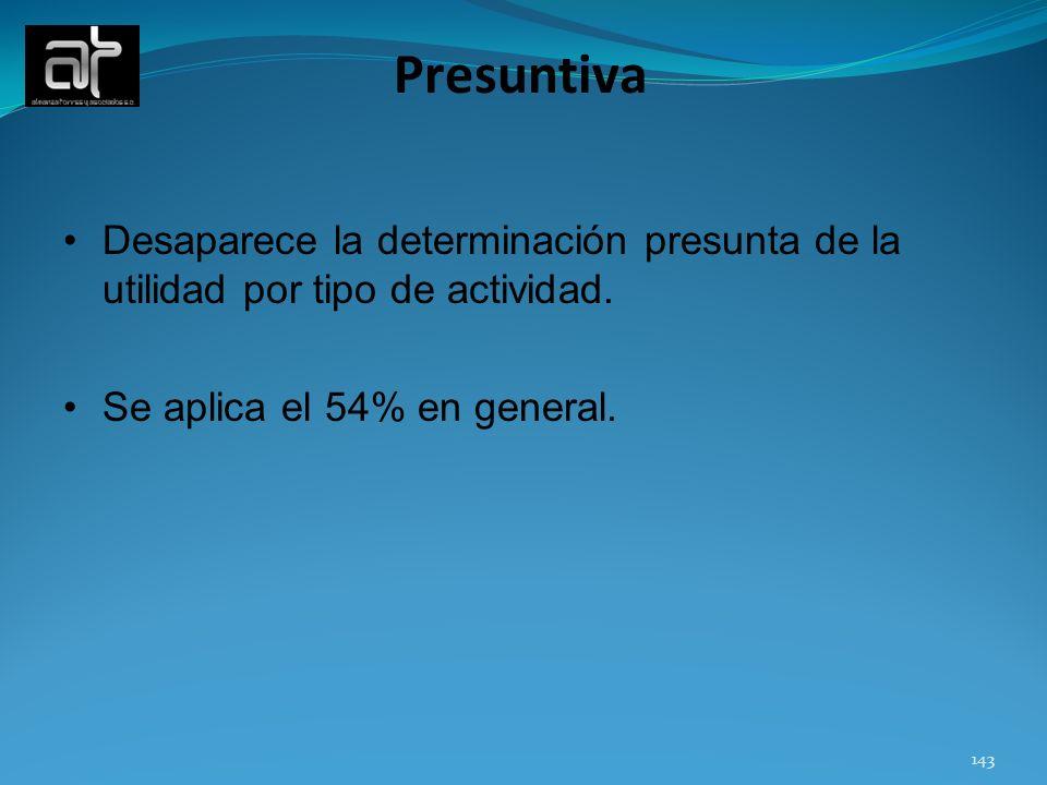 Presuntiva Desaparece la determinación presunta de la utilidad por tipo de actividad.
