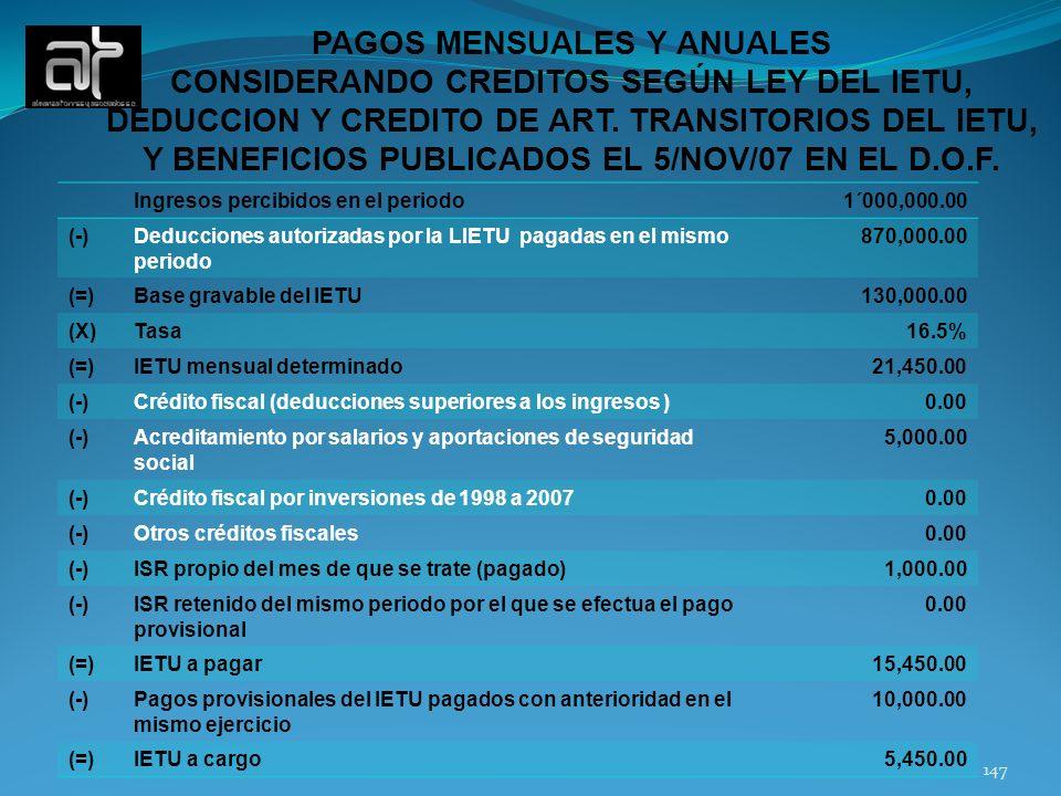 PAGOS MENSUALES Y ANUALES CONSIDERANDO CREDITOS SEGÚN LEY DEL IETU,