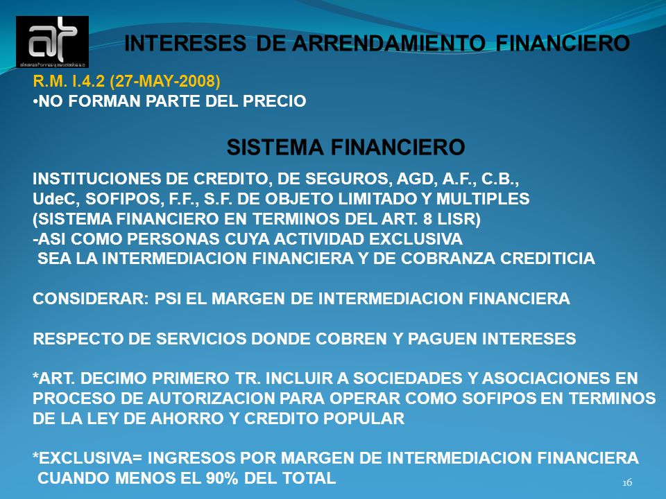 INTERESES DE ARRENDAMIENTO FINANCIERO
