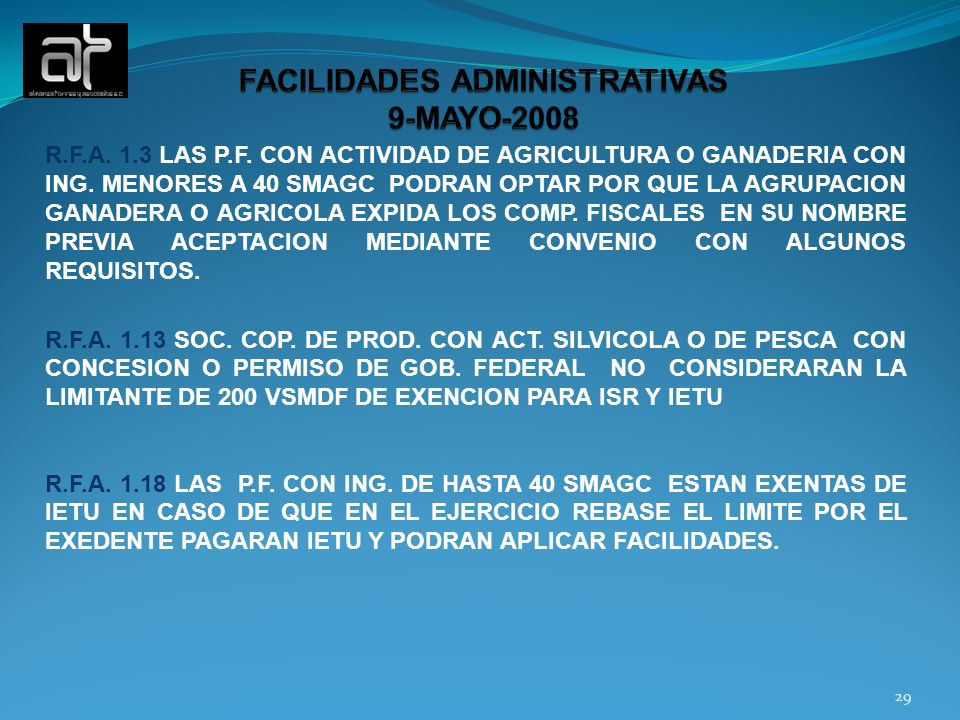 FACILIDADES ADMINISTRATIVAS 9-MAYO-2008