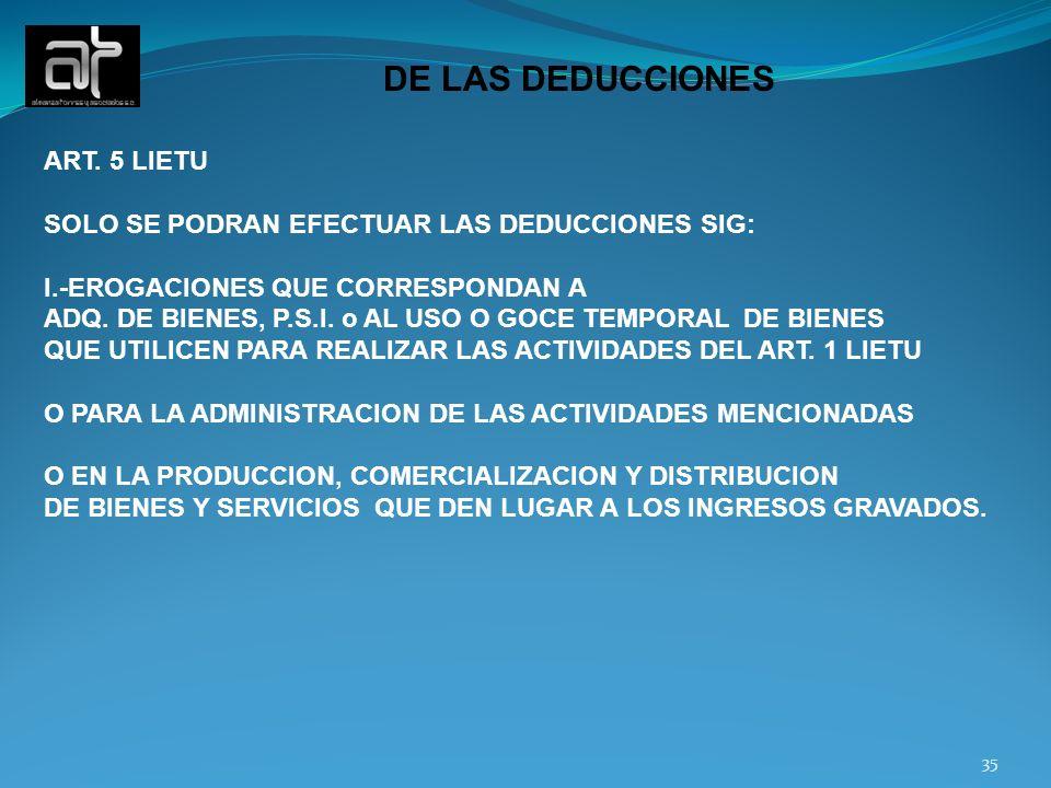 DE LAS DEDUCCIONES ART. 5 LIETU
