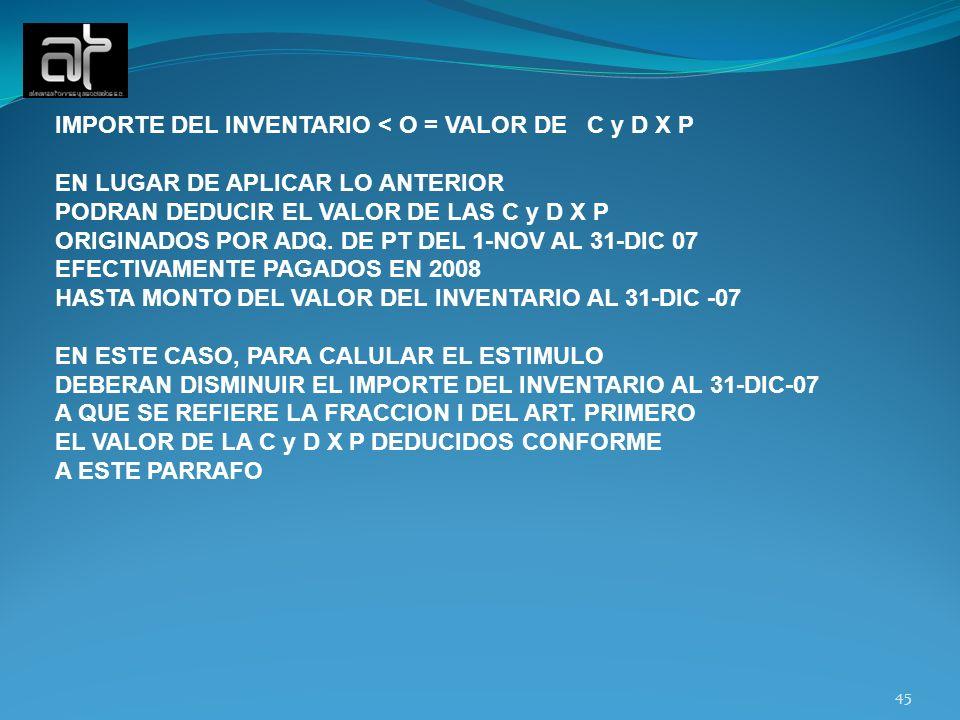 IMPORTE DEL INVENTARIO < O = VALOR DE C y D X P