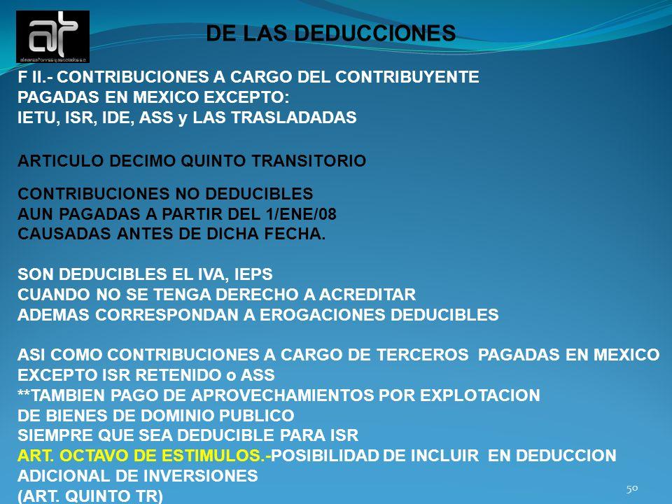 DE LAS DEDUCCIONES F II.- CONTRIBUCIONES A CARGO DEL CONTRIBUYENTE