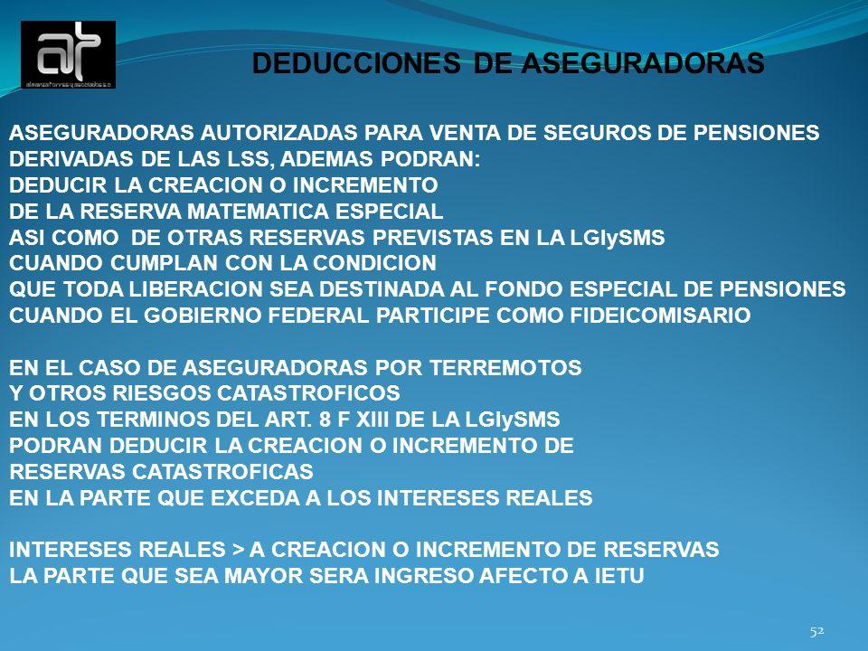 DEDUCCIONES DE ASEGURADORAS