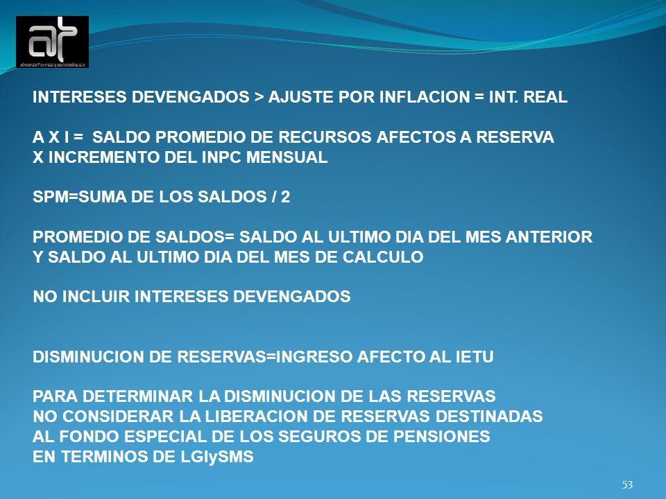 INTERESES DEVENGADOS > AJUSTE POR INFLACION = INT. REAL