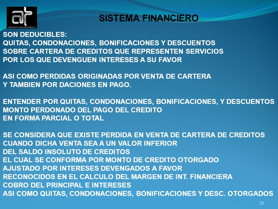 SISTEMA FINANCIERO SON DEDUCIBLES: