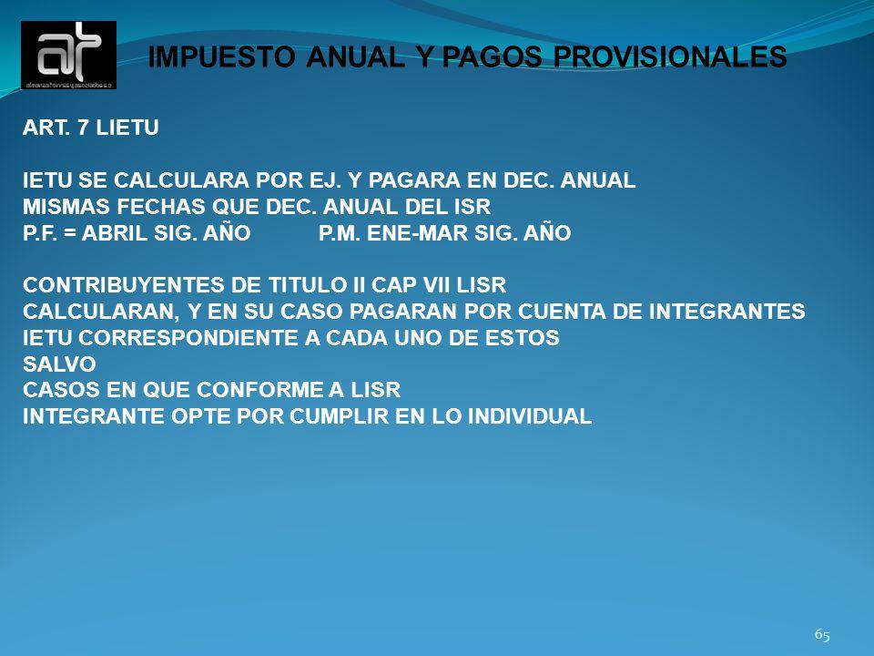 IMPUESTO ANUAL Y PAGOS PROVISIONALES