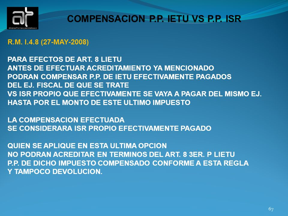 COMPENSACION P.P. IETU VS P.P. ISR