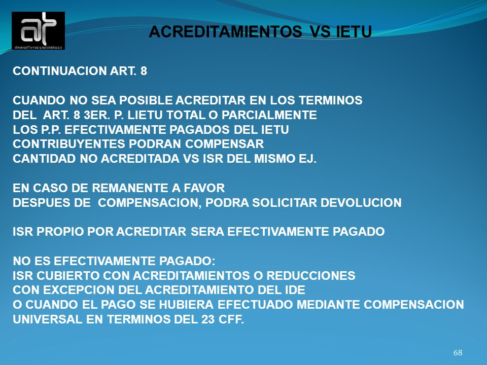ACREDITAMIENTOS VS IETU