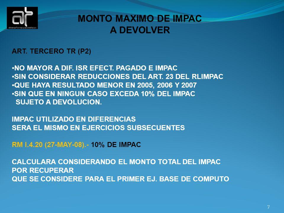 MONTO MAXIMO DE IMPAC A DEVOLVER