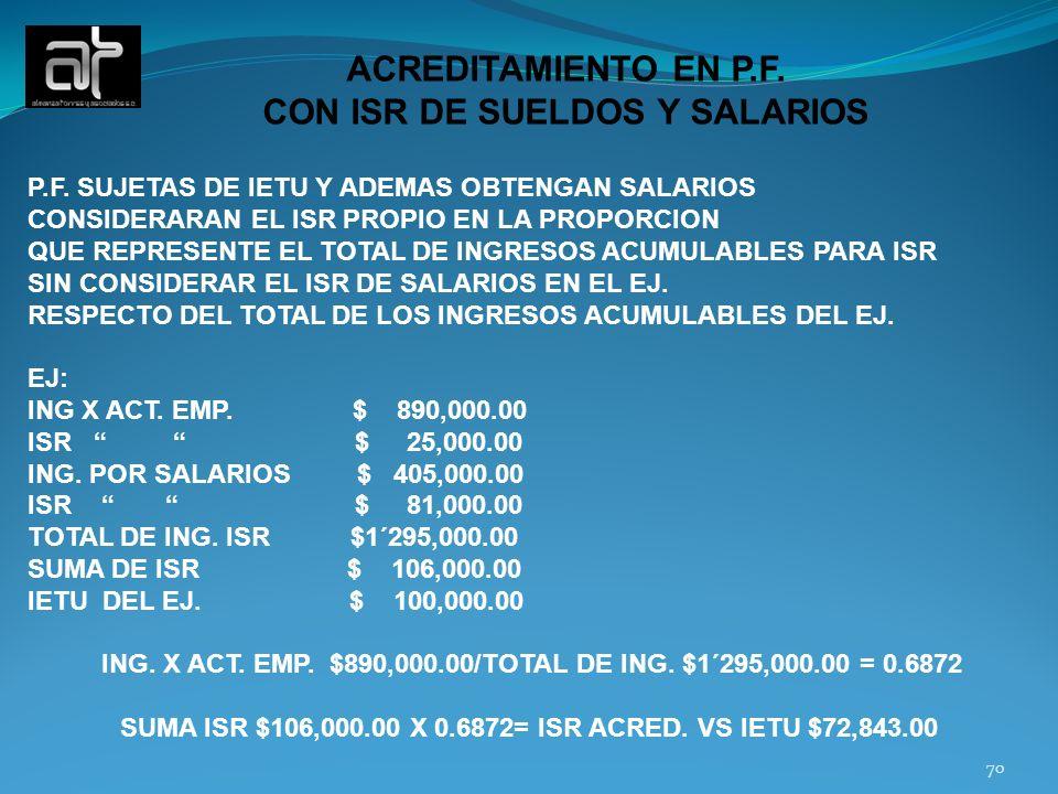 ACREDITAMIENTO EN P.F. CON ISR DE SUELDOS Y SALARIOS