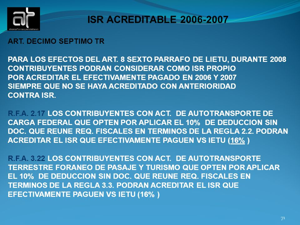 ISR ACREDITABLE 2006-2007 ART. DECIMO SEPTIMO TR