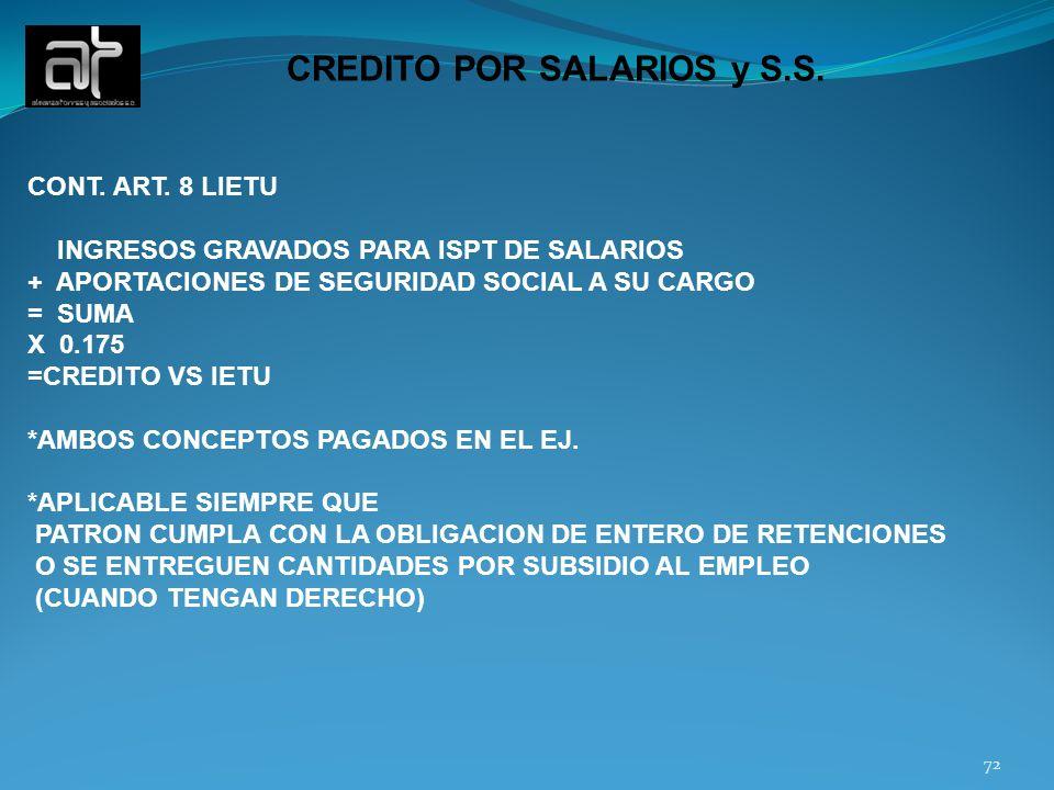 CREDITO POR SALARIOS y S.S.