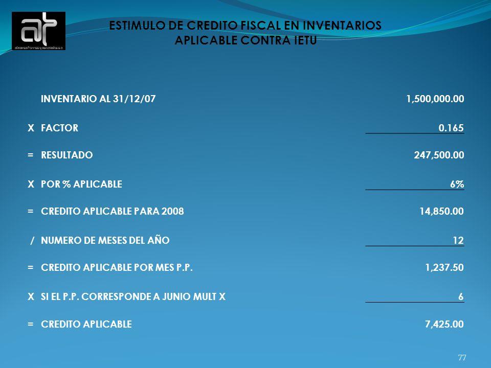 ESTIMULO DE CREDITO FISCAL EN INVENTARIOS