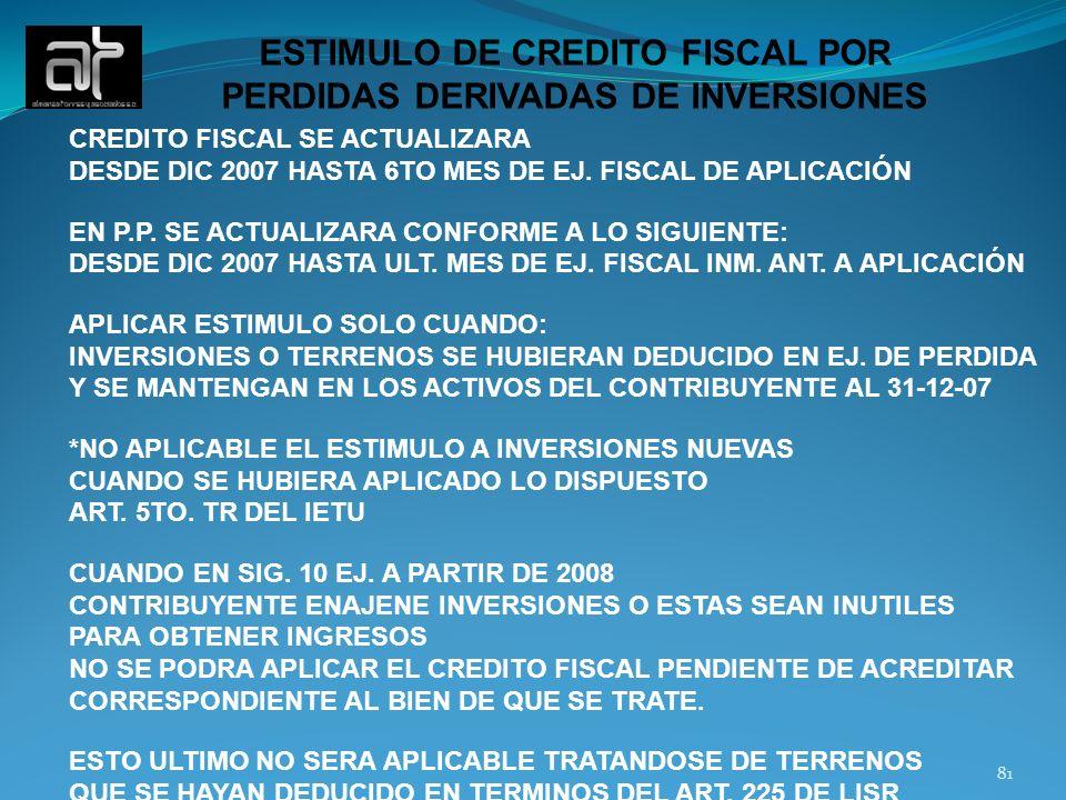 ESTIMULO DE CREDITO FISCAL POR PERDIDAS DERIVADAS DE INVERSIONES