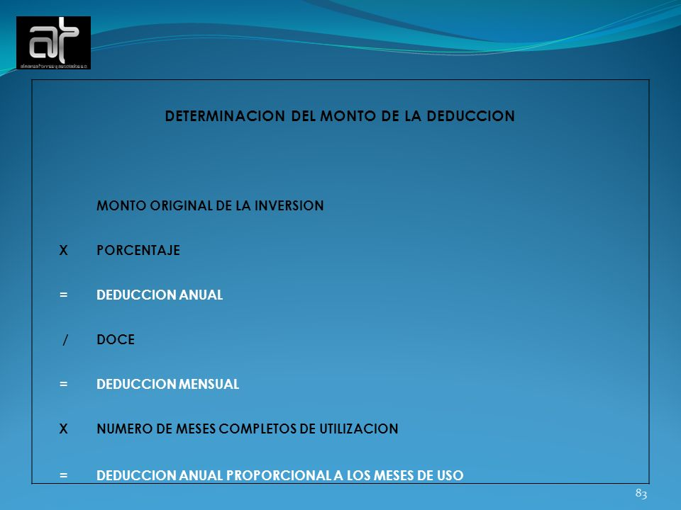 DETERMINACION DEL MONTO DE LA DEDUCCION