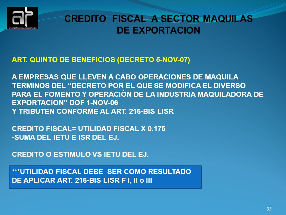 CREDITO FISCAL A SECTOR MAQUILAS