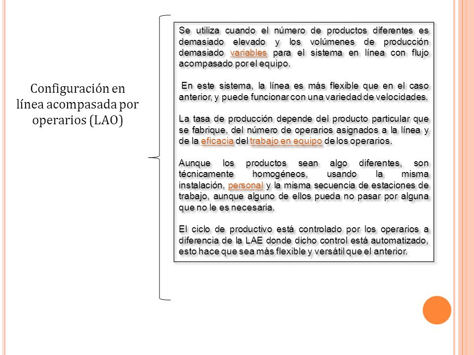 Configuración en línea acompasada por operarios (LAO)