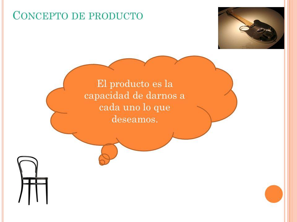 El producto es la capacidad de darnos a cada uno lo que deseamos.