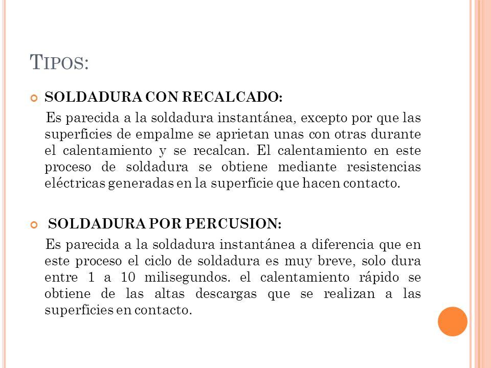 Tipos: SOLDADURA CON RECALCADO: