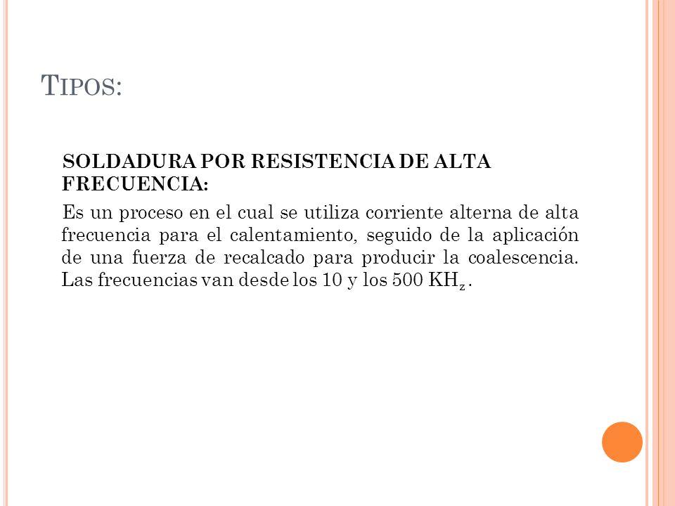 Tipos: SOLDADURA POR RESISTENCIA DE ALTA FRECUENCIA: